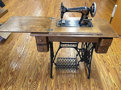 Antique Singer Sewing Machine Sphinx Design 127 Series Treadle Base Circa 1906