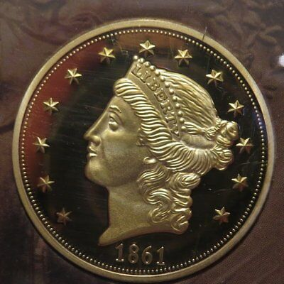 "Fantasy 1861 ""PAQUET"" $20 Double Eagle Gold Coin - The American Mint. Rare Type."