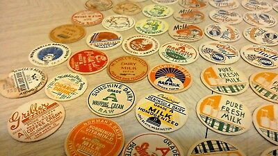 LOT OF 139 VINTAGE MILK BOTTLE CAPS mixed lot; various locations; check this out