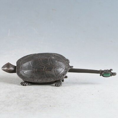 Rare Collectibles Chinese Old Style Brass Handmade Tortoise Lock With Key LLS14