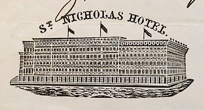 1862 Antique Invoice ~ Warnock & Co., Fashionable Hatters-St. Nicholas Hotel ~NY