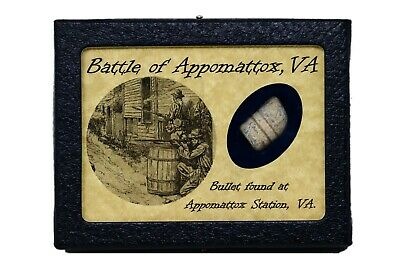 Civil War Bullet from The Battle of Appomattox, Virginia with Display Case & COA