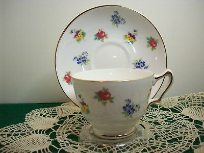 Vintage Crown Staffordshire Bone China Tea Cup and Saucer Multi Floral (England)