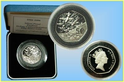 "GB. 50 Pence 1994 Silver Proof Piedfort ""D-Day"""