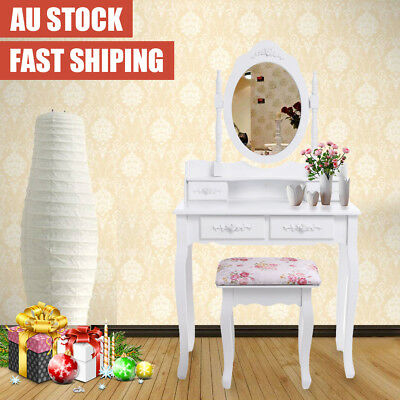 Luxury Jewelry Dressing Table Makeup Desk with 4 Drawer Stool Mirror Organizer