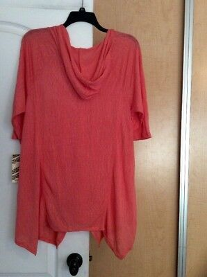 New Born Famous - Coral/Hooded/knit Crochet Lace Women Tunic Top Plus Size 2X