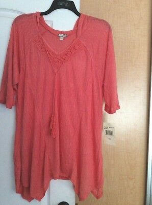 New Eyeshadow - Coral/ Hooded/knit Crochet Lace Women Tunic Top Plus Size 2X