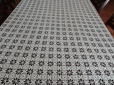 "Handmade Antique Crocheted Lace Medallion Cream Bedspread Coverlet 98"" 1910-1920"
