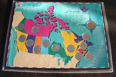 1992 Canada 125 - 12 Provincial Quarters & Loonie Collector Set PROOF LIKE