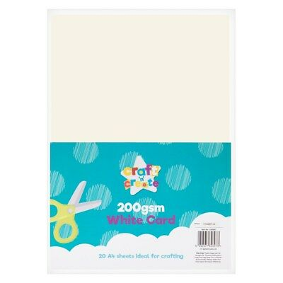20 SHEETS THICK 200gsm WHITE CARD SMOOTH SCRAPBOOKING ART CRAFT SCHOOL PAPER