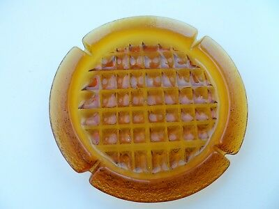 "Vintage Huge 11.5"" Blenko Amber Glass Ashtray Joel Myers Mid-Century Modern MCM"