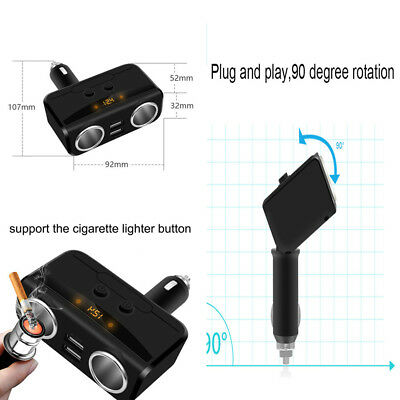 Car LCD Cigarette Lighter Socket Splitter 12V Dual USB Power Adapter Max 5V 3.1A