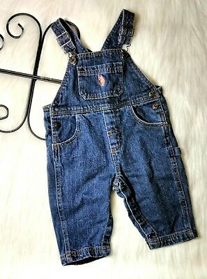 U.S. POLO ASSN Baby Boy's Size 12 Months Denim Overalls Jeans Embroidered Logo