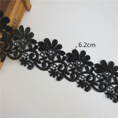 3Meter Black Embroidered Lace Edge Trim Ribbon Wedding Applique DIY Sewing Craft
