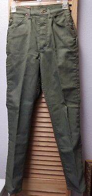 """Vintage 1960s Lady Lee Stretch Riders USA Made Olive Green Denim Jeans 25""""x28"""""""