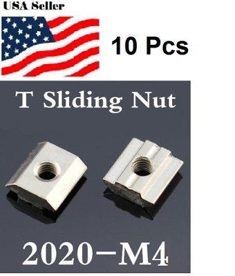 10 Pcs M4T Sliding Nut Block Slot 6Zinc Plated Carbon Steel 2020 T-slot
