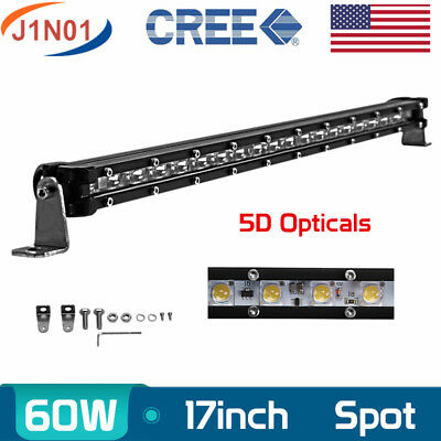 17inch 60W Single Row CREE LED Light Car 5D Lens Super Slim SPOT Driving 18/19''