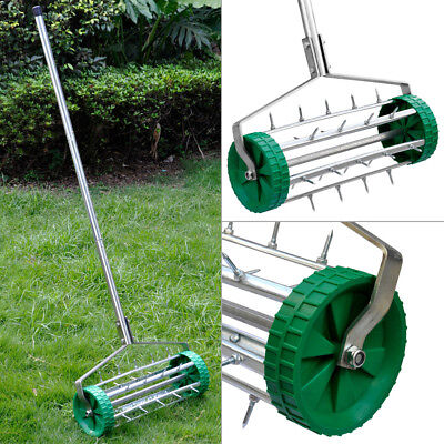 Heavy Duty Rolling Grass Lawn Aerator Roller Spike Garden Yard 3Pcs Steel Handle