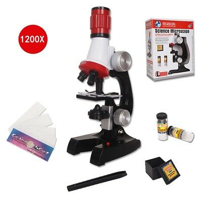 Science Kits for Kids Beginner Microscope W/ LED 100X 400X 1200X Educational Toy