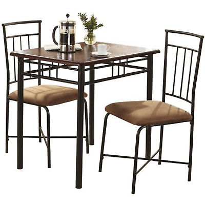 Dining Room Set 3 Piece Wood And Metal Table Chairs Nook Breakfast Walnut Finish