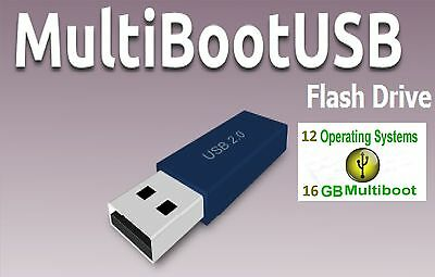 16 GB Multiboot USB Drive, 12 bootable Systems, repair Win, enjoy Linux NEW!
