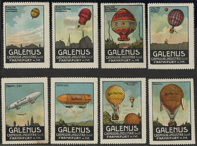 "LUFTFAHRT & ZEPPELIN VIGNETTE: 8 verschiedene Werbevignetten der ""Galenus  -2736"