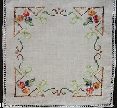 Vintage off-white linen square hand cross-stitched embroidery cloth.