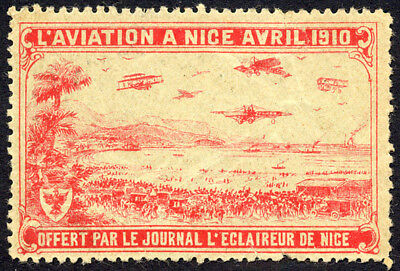 "LUFTFAHRT & ZEPPELIN VIGNETTE: Nizza - 1910. Werbevignette des ""L'Aviation -992"