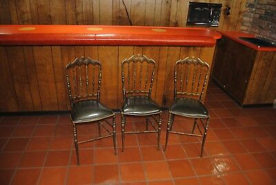 (3) CHIAVARI Mid-Century Brass CHAIR Lot Hollywood Regency Vtg Italian VANITY