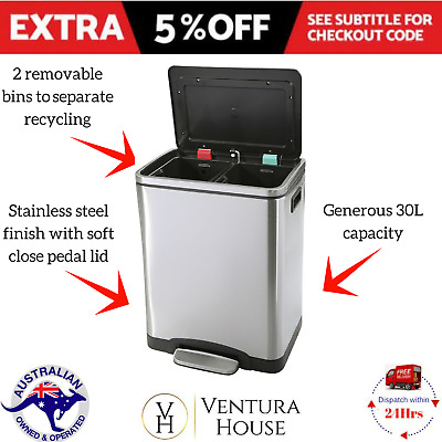 Stainless Steel Recycle Bin Double 30L Kitchen Waste Trash Garbage Pedal New