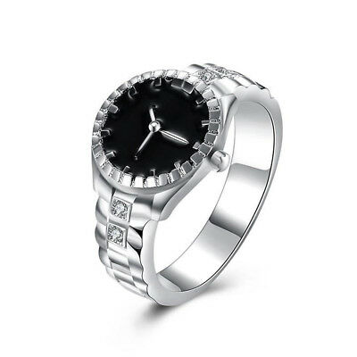 Creative Women Quartz 925 Silver Finger Ring Watch Alloy Personality Gift