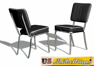 CO-25 Black Bel Air Furniture 2 Chairs Diner Kitchen in the Style of 50 Piece