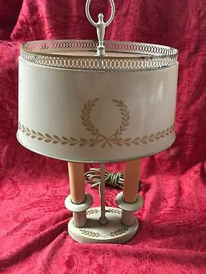 vintage Bouillotte French Lamp w/ Tole Painted Metal Shade--tan color