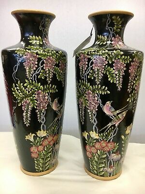 "Pair Of Chinese Porcelain Large Urns Vases Stunning 22"" Tall"