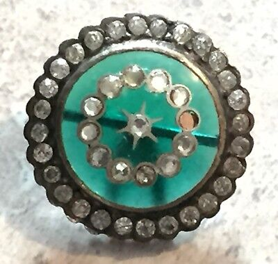 Gorgeous Antique 1800'S Pave Set Pastes In Teal Glass Metal Button Paste Border