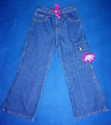NEW Flapdoodles Girl's Crocheted Flower & Ribbon Tie Bootcut Flare Jeans Size 5