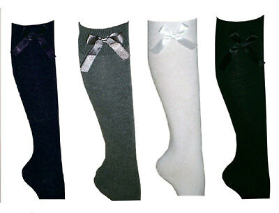 Girls Fashion 3,6 Pair Knee High Socks With Bow Long Cotton Rich School Socks