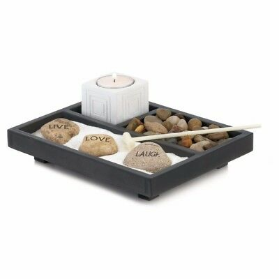 Live Love Laugh Zen Garden with Tealight Candle Holder Set