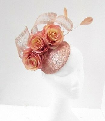 Nude Rose Gold Sequin Flower Feather Fascinator Pillbox Hat Races Ascot 5060