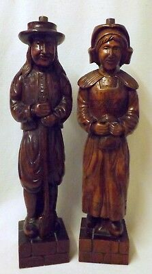 Superb Pair of Antique French Carved Wooden Figures, Large and Imposing
