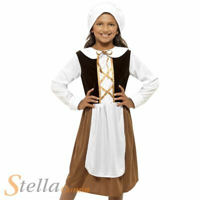 Girls Tudor Girl Costume Victorian Maid Orphan Child Fancy Dress Outfit