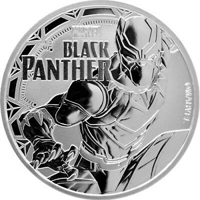 2018 Tuvalu Marvel Series Black Panther 1 oz .9999 Silver Very Limited BU Coin