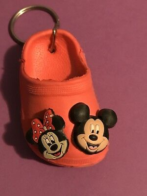 Keychain with Mickey & Minnie Mouse Jibbitz Shoe Charm Croc Buttons Red