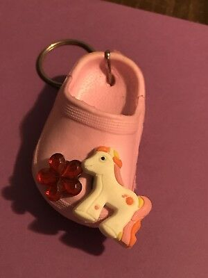 Keychain with My Little Pony & red flower Jibbitz Shoe Charm Croc Buttons pink