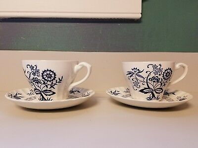 Set of 2 -J G Meakin Classic Nordic White Blue Onion Tea Cups & Saucer England