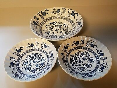 J & G Meakin England Blue Nordic ~ Blue Onion ~ ( 2) Cereal ~  (1) Serving Bowl
