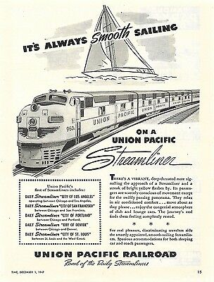 1947 Vintage Union Pacific Railroad Ad Its Always Smooth Sailing
