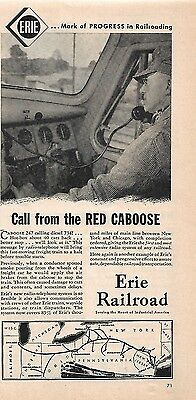 1950 Vintage Erie Railroad Ad Call From The Red Caboose