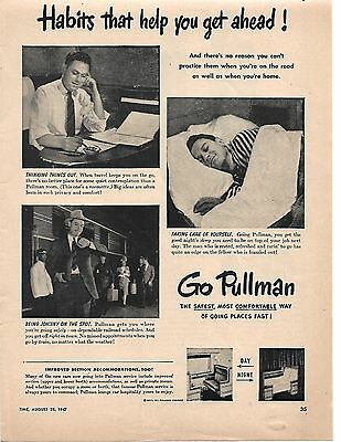 1947 Vintage Go Pullman Ad Habits That Help You Get Ahead