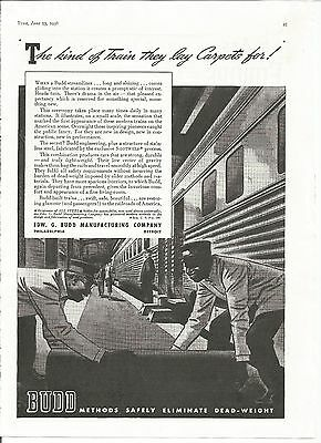 1938 Edw G Budd Manufacturing Vintage Ad Train They Lay Carpet For